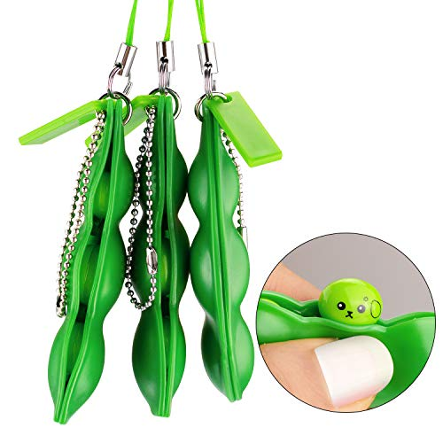 Anpole Fidget Bean Toy,Squeeze-a-Bean Puchi Puti Mugen Edamame Keychain Keyring Extrusion Bean Pea Soybean Stress Relieving Chain Toys