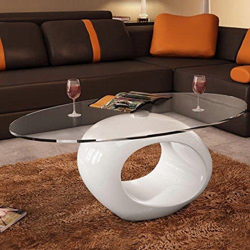Lingjiushopping Couchtisch modern Glas Design weiß oval Plan des Tisch: Glas-Sicherheit des Dicke von 8mm Base: Fiberglas und Lack weiß