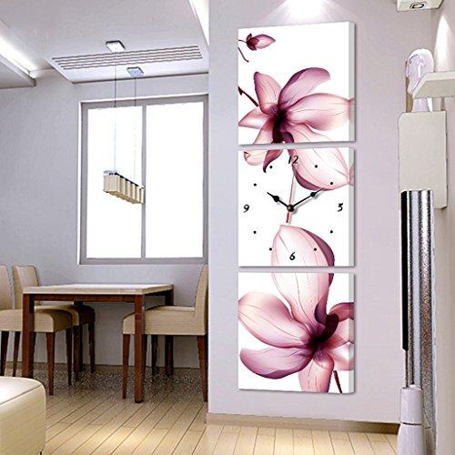 Moderno Salotto Tre Quadri Senza Cornice appesi Orologi e Orologi Davanti ai Dipinti Decorativi Verticali murales (Dimensioni : 40 * 40cm)