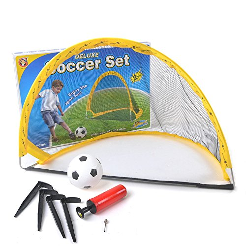 2x MINI OUTDOOR DELUXE FOLDING KIDS CHILDREN S SOCCER POP UP FOOTBALL GOALS Toy Christmas Gift