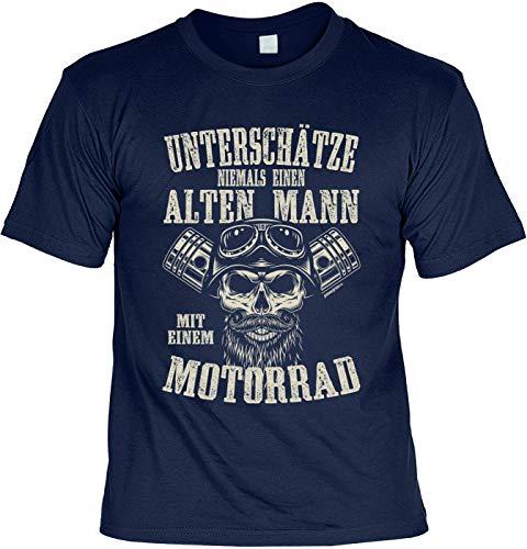 Biker T-Shirt - Unterschätze Niemals einen Alten Mann mit Motorrad - Präsent für Motorrad-Fahrer