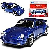 Welly Porsche 911 Turbo G-Modell Coupe Blau 1973-1989 ca 1/43 1/36-1/46 Modell Auto mit individiuellem Wunschkennzeichen