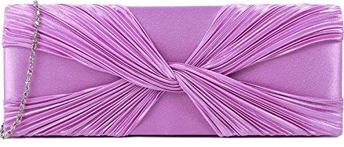 ANNE L. Damen Clutches Abendtasche Unterarmtasche Handtasche Schultertasche Partybag Satin Flieder Rosa Pink 27x10 cm (BxH) (Handtasche Klein Anne)