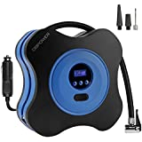 DBPOWER 12V DC Air Compressor Pump, Digital Tyre Inflator by 150PSI with Digital Gauge, 3 High-air Flow Nozzles & Adaptors for Cars, Bicycles and Basketballs