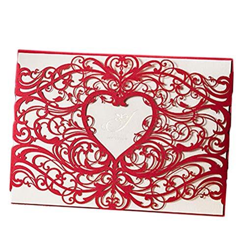Cdet 1x Blank Kartenhalter Hochzeit EinladungsKarten Glückwunsch Einladung Karten,Elegante Blume Spitze Partyeinladungen für Hochzeit Geburtstag Verlobung Party (Rot)