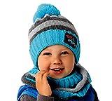 AJS Modernes Jungen Winter Set Mütze Bommel Schornsteinschal Streifen Grau Blau Farbe Grau