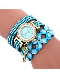 Vovotrade bling flor clave chimeneas de cristal de diamantes pulsera de cuero reloj de pulsera para mujer mujer niña (cielo azul)