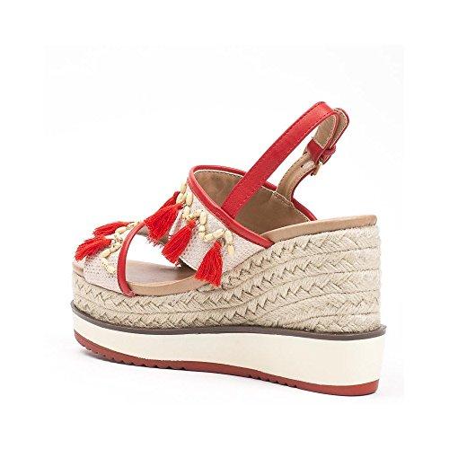 Ideal Shoes Sandales Compensées Style Bohême Scarlett Rouge