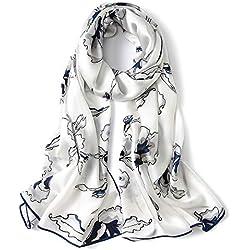 """WZTP pañuelo de seda Mujer 100% seda Mantón Bufanda Moda Chals Señoras Elegante Estolas Fular 70,8""""x 25,6 '' Azul Blanco"""