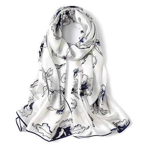 Foulard donna seta sciarpa eleganti moda magnifico grande scialle bianco e blu 70,8'' x 25,6''