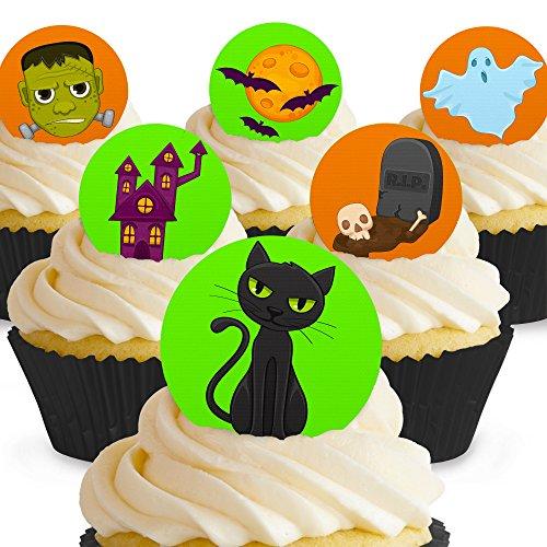 Cakeshop 12 x Vorgeschnittene und Essbare Gruselige Halloween Kuchen Topper (Tortenaufleger, Bedruckte Oblaten, Oblatenaufleger) (Topper Halloween Kuchen Essbare)