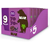 BEAR Blackcurrant Yoyos - Delicious Real Fruit Snacks - Great for Lunchboxes - Healthy Kids Snack - 45 x 20 g (9 Packs…