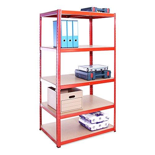G-Rack Rangement 180 cm x 90 cm x 60 cm, Rouge, 5 étages (265kg par Étagère), Capacité de 1325 kg résistant, très Profond Garage Abri de Jardin, Red