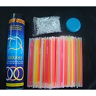 100 Glow Sticks / Bracelet. 7 Color Mix. Premium-Class! Factory-Fresh! Brightly colored Lightsticks! 8