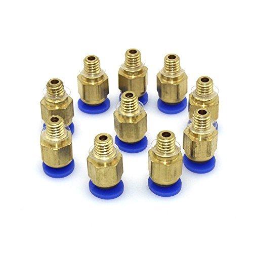 Popprint, pc4-m6, raccordo dritto filettato, per 4mm, m6,connettore per stampante 3d, confezione da 10pezzi