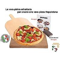 LA VERA Pietra Refrattaria Per Questo è più Cara per Pizza da Forno Comprensiva di Pala per Pizza e Ricettario – Realizzare la vera Pizza Italiana (35x35x2,5cm)