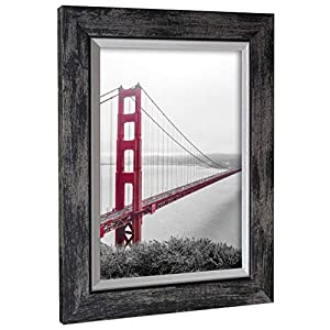 Rahmengalerie24 Bilderrahmen 40x60 cm Farbe: Schwarz gew. MDF Elegance Hängerahmen ohne Passepartout ohne Ständer Made in Germany