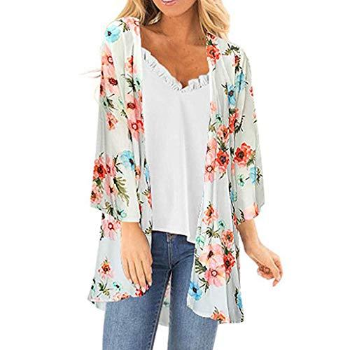 Strickjacke Damen, GJKK Elegant Blumendruck Kittel Langarmshirt Einfache Top Lange Vertuschung Kimono Cardigan - Einweg Kind-kittel