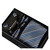 Männer Krawatte Business Set Hochzeit Krawatte Manschettenknöpfe Taschentuch und Krawatte Clip (Weiße Box, 8)