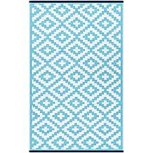 Green Decore 150 x 240 cm Alfombra Ecológica para Interiores y Exteriores de Plástico Reciclado - Ligera y Reversible - Indoor / Outdoor - Azul turquesa / Blanco