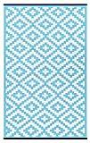 Green Decore  Wendbarer Öko-Teppich aus recyceltem Kunststoff (Plastik) für Innen und Außen / Federleicht - Türkis-Blau / Weiß