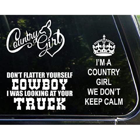 Il Country-Set di 3 adesivi, motivo: ragazza di campagna, non più Yourself Cowboy I Was Your Looking at Truck, I'm a Country Girl non disponiamo Keep Calm-Die-Cut-Adesivo/decalcomania paraurti, per finestre, auto, camion, laptop, ecc.