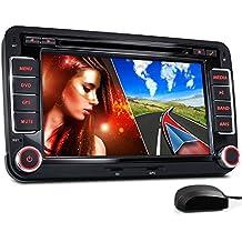 """XOMAX XM-2DN705 radio de coche Volkswagen / SKODA / SEAT/ Moniceiver reproductor multimedia / naviceiver con GPS + NAVIGATION software incluye mapas de Europa + Bluetooth manos libres + 7 """"/ 18 cm visualización de la pantalla táctil + HD + DVD / CD + puerto USB soporta hasta 128 GB + tarjeta de memoria Micro SD ranura soporta hasta 128 GB + MPEG4, MP3, WMA, AVI, DivX, etc + conexiones: subwoofer, cámara de vista trasera y control remoto del volante + Doble DIN (2-DIN) + incluyendo antena GPS"""