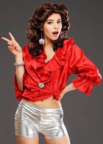 Damen 1970er Jahre Disco rote Bluse Top (Top Jahre 1970er)