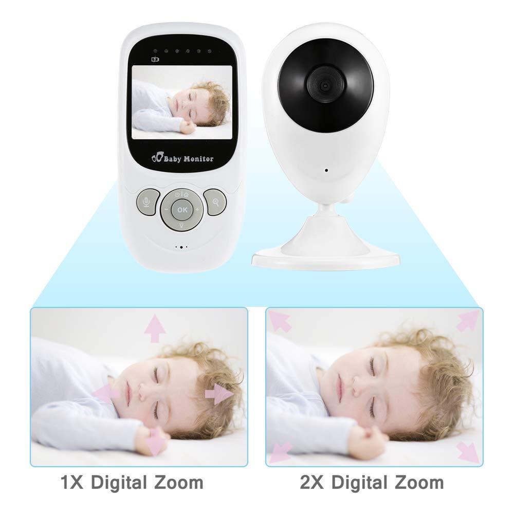 Babyphone mit Kamera COSANSYS Baby Monitor Video Wireless Babyphone 2 Zoll LCD 2.4GHz Digital Baby /Überwachung Digitalkamera mit Temperatursensor Schlaflieder Nachtsicht