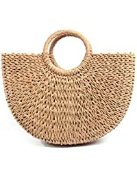 Haneez Rattan Handbag for Women, Latest Stylish Beach Bag, Vietnamese Straw Hand Woven Purse for Summer, Travel, Natural Handmade