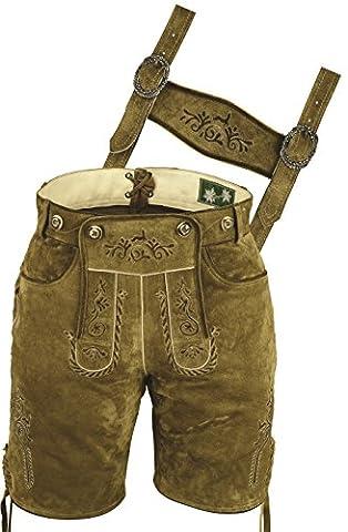 Lederhosen Costumes- Pantalon en cuir Homme Femme- Oktoberfest Costume Homme Femme- Court Pantalon Homme Femme Cuir- Lederhose Trachtenhose cuir véritable Sued Beige (42, Beige-Olive)