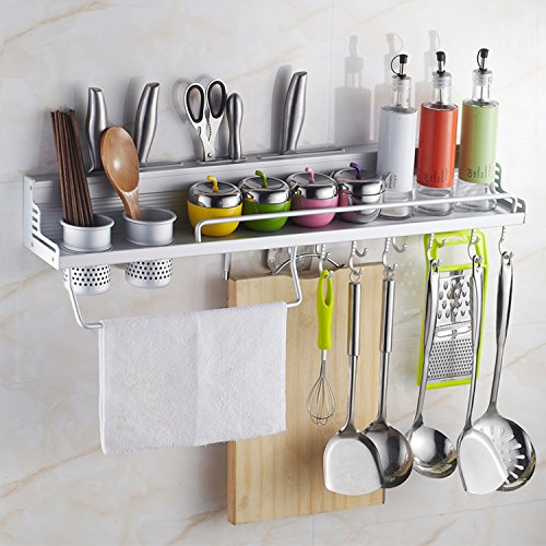 40cm 2 Cups Al Kitchen Shelf Storage Rack Spice Tool Holder Shelf Wall Kitchen Rack