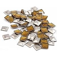 "beadsland Hotfix hierro encendido, 7x 7mm, parte trasera plana Pyramid Studs–1/4""Flatback pegamento en tacos 100piezas (oro) Silver 10X10Pyramid"