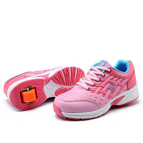 Vilocy Unisex-Kinder Rollschuh Schuh Sneaker Roller Skates Pink
