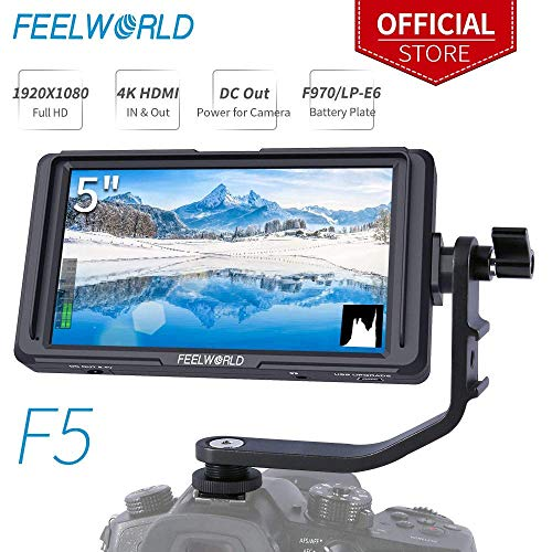 Feelworld F5 5 Zoll DSLR Kamera Field Monitor Small Full HD 1920x1080 IPS Video Peaking Focus Assist mit 4K HDMI 8.4V DC Input Output Gehören Tilt Arm Kamera Hd Dslr Monitor