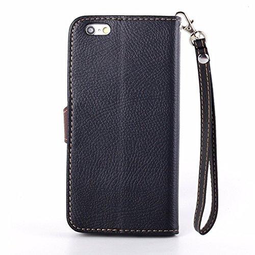 UKDANDANWEI Apple iPhone 6 étui,Les feuilles de texture Pu Leather Case avec Dragonne Corde Flip Wallet Protective Case Cover avec Fonction Stand et Fentes de Carte de Crédit Flexible Souple Tpu Coque Noir