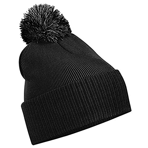 Unisex Beechfield Snowstar Duo Winter Knit Beanie Bobble Hat Black/Graphite Grey One Size