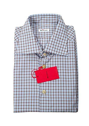 Preisvergleich Produktbild Kiton CL Checked White Blue Brown Shirt 45 / 18 U.S.
