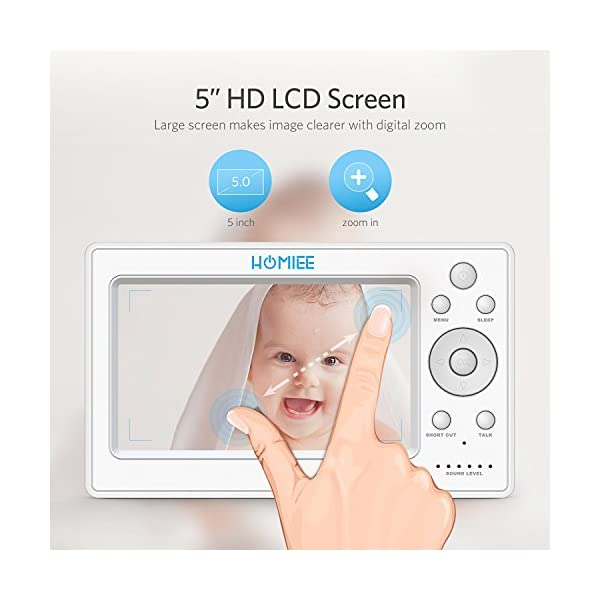 """HOMIEE 720P Wireless Video Baby Monitor with 5"""" HD LCD Digital Screen & Robot Appearance Camera, Two Way Audio, Sound & Temperature Alert, Low Battery Alarm, Night Vision with 1000ft Range (Blue) HOMIEE 【5"""" Large Rechargeable Color LCD Monitor】Equipped with super large 5 inch full color HD LCD screen with 1280 x 720 resolution, HOMIEE baby monitor offers the most vivid visual experience 【Upgraded Unique Robot Appearance Camera】Up to 4 cameras can be hooked up to the monitor for more babies. The robot can be wireless controlled to rotate about 360 degree horizontally, to bow and lie down between 105 degree at most. Additional camera can be purchased at ASIN: B07KGP29GM 【2.4GHz Wireless Connection Technology】No need to connect WIFI, needless of 3G/4G mobile data traffic, the 2.4GHz wireless technology provides 100% digital privacy and security, with range up to 1000ft in open space. Night vision is also supported 2"""
