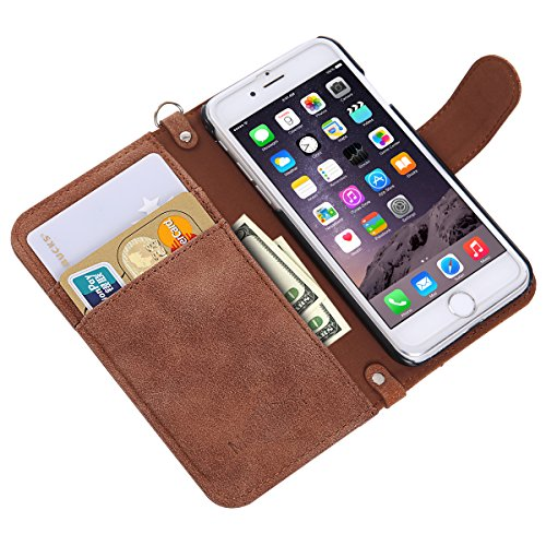 iPhone 7 Flip Case MONOJOY Purse Card Cover Harris Tweed Wool Surface Fabric and Synthetic Suede Leather Folio Book Cover with Card Business Office Commercial Slot Magnetic Clasp Handmade Retro (iPhone 7 ( 4.7″ ), Brown)