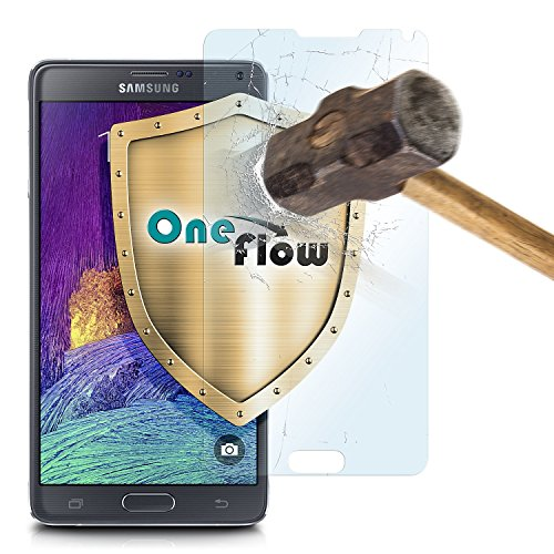 OneFlow 9H Panzerfolie für Samsung Galaxy Note 4 Panzerglas Matt Glasfolie [Tempered Glass] Screen protector Displayschutz-Folie für Samsung Galaxy Note 4 Schutzfolie Glas - Display gewölbt, Folie bewusst kleiner