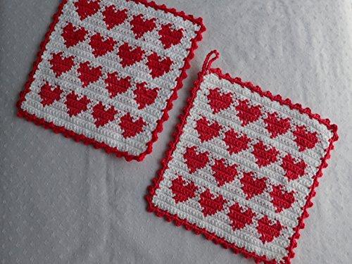 1 Paar gehäkelte Topflappen mit Herzen (Herz-topflappen)