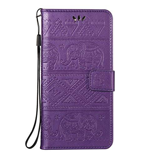 Für Huawei Nova Plus Premium Leder Schutzhülle, weiche PU / TPU geprägte Textur Horizontale Flip Stand Case Cover mit Lanyard & Card Cash Holder ( Color : Blue ) Purple