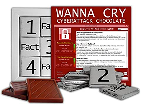 DA SCHOKOLADE Nette Süßigkeit WANNACRY Schokoladen Geschenk Set Präsident von Computervirusentwurf 13x13cm 1 Karton (Screenshot)