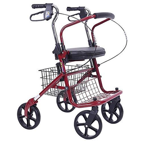 KOSHSH Deluxe Alte Warenkorb Leichtbau-Rollator Mit Pad Seat Baskets Transport Trolley,Red