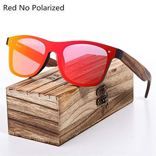 ANSKT Polarized Black Walnut Wood Sonnenbrille Men Square Damen Sonnenbrille UV400 Oculos Gafas Oculos de sol Masculino-Red_No_Polarized