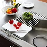 Dayalu® Multipurpose Foldable Dish Drying Silicone Rack Home Kitchen Stainless Steel Kitchen Rollup Dish Drainer Over…