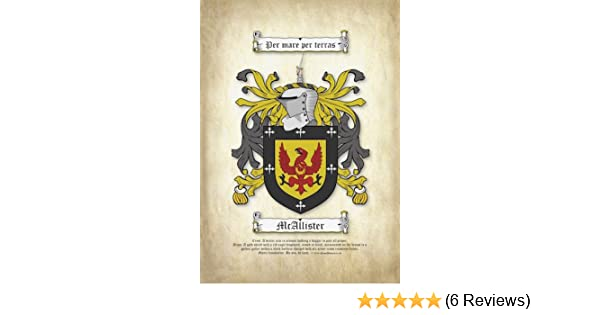 A4 Surname Coat Of Arms Printed On Parchment Family Crest Amazon