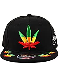 Men's Weed Cannabis Jamaica Leaf Marijuana High Hip Hop Snapback Cap Hat