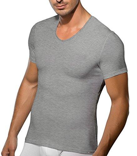 V Ausschnitt Shirt Herren Business Unterhemd Slimfit Herren T Shirt V Neck Doreanse Grau-Melange